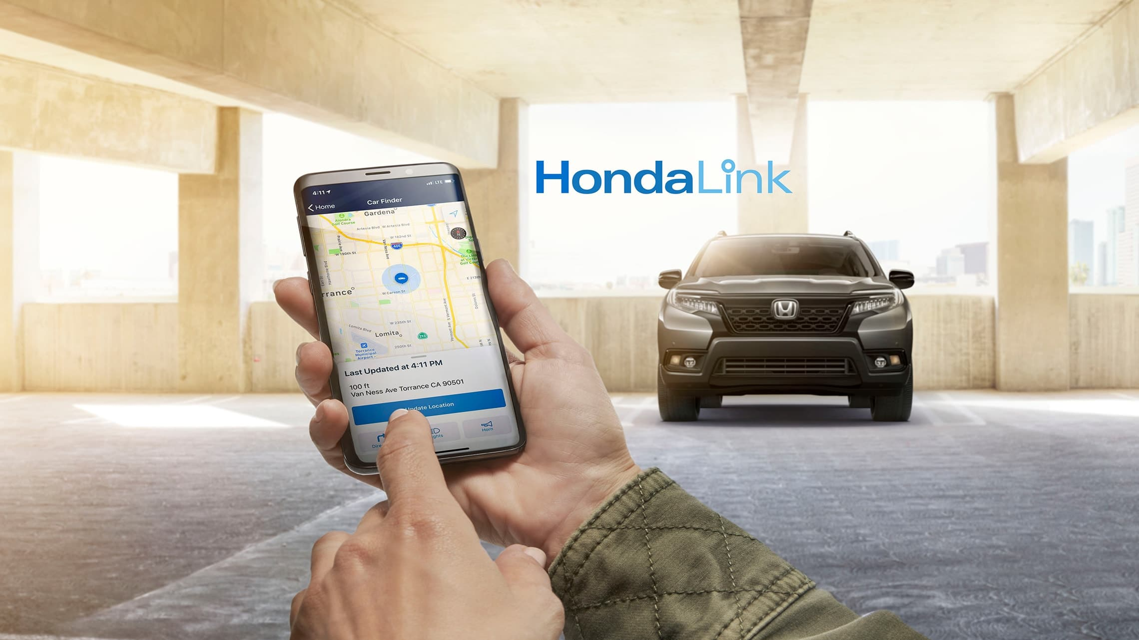 Compatible smartphone connected with HondaLink®.