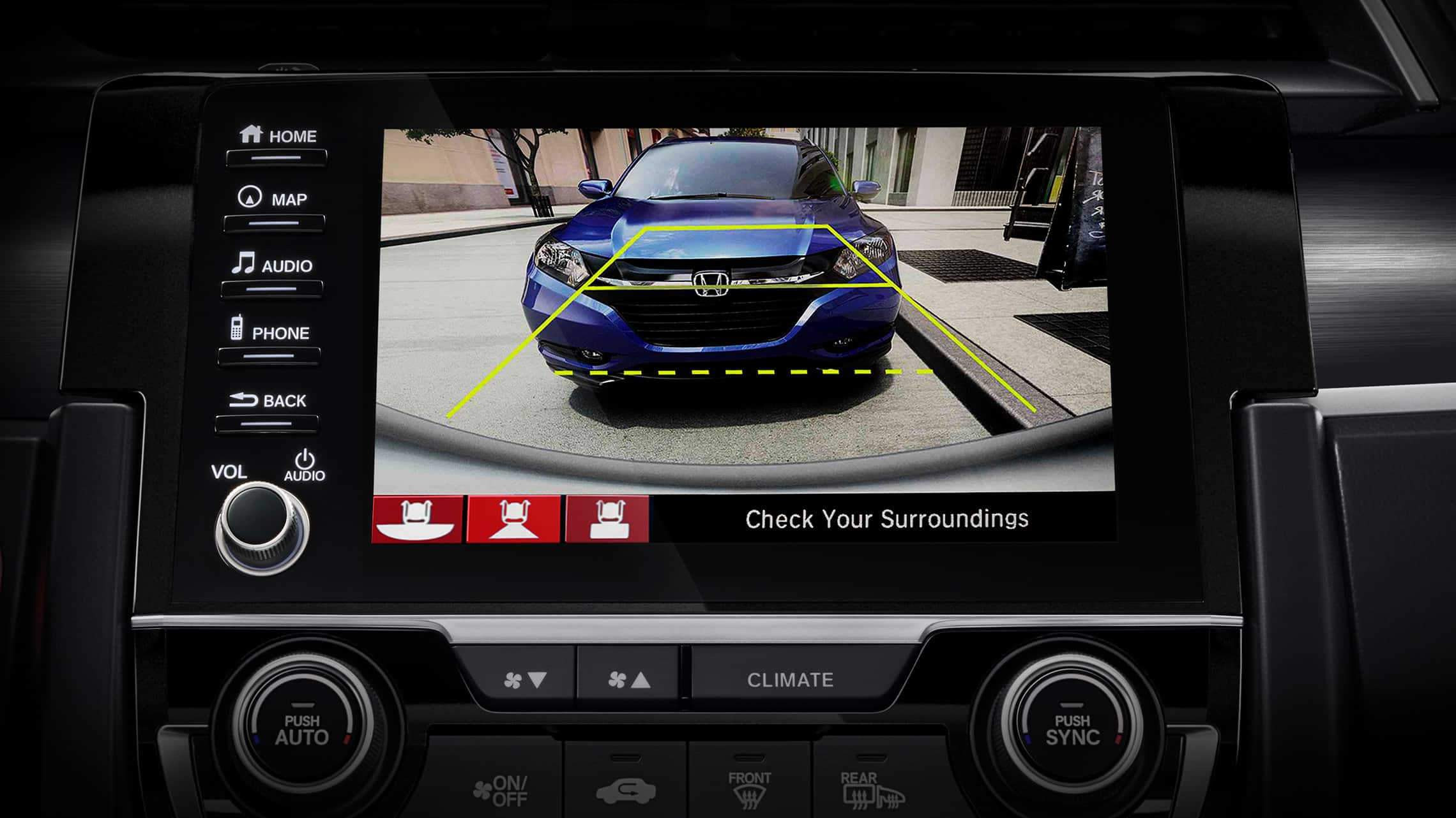 Multi-angle rearview camera screen detail on Display Audio touch-screen in the 2021 Honda Civic Sport Touring Hatchback.