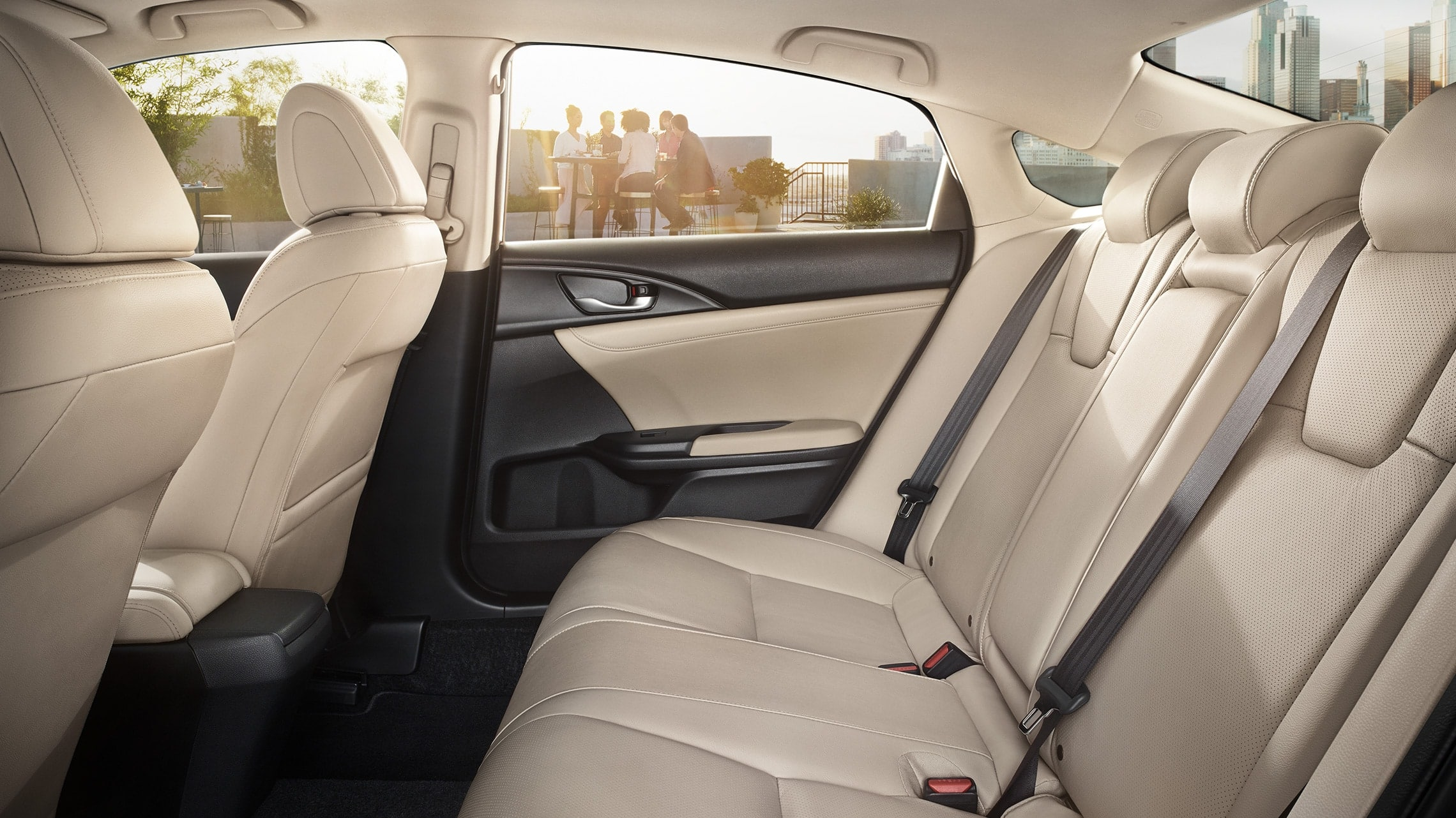 Interior side profile view of rear seats in 2021 Honda Insight with Ivory Leather.