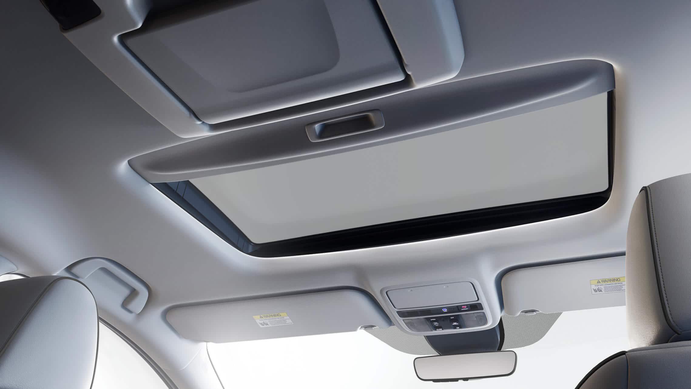 Power moonroof detail on the 2021 Honda Odyssey Elite with Gray Leather.