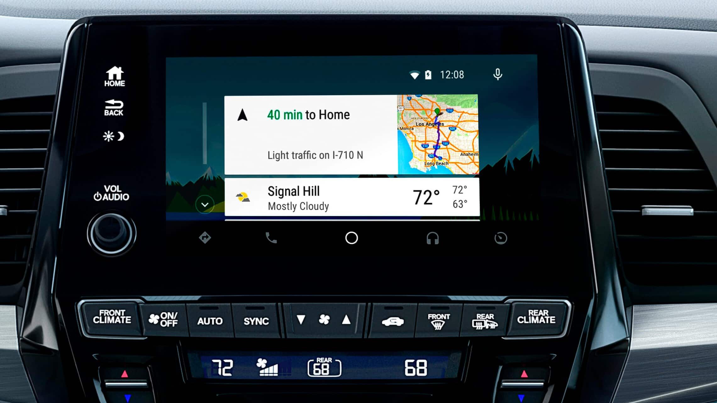 Android Auto™ detail on Display Audio touch-screen in the 2021 Honda Odyssey Elite with Gray Leather.