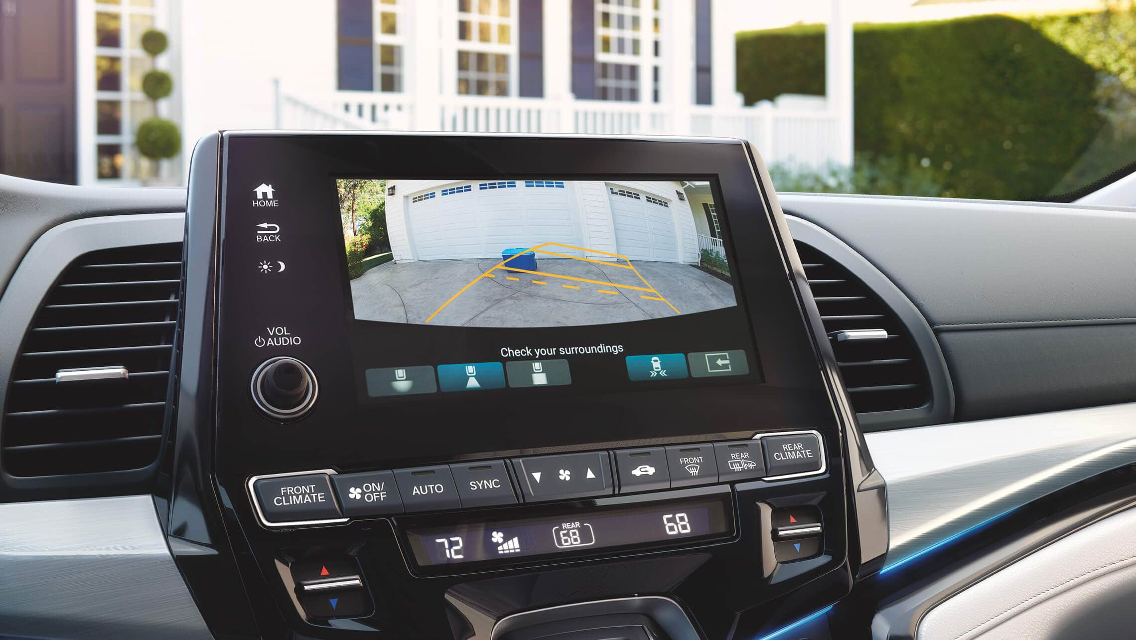 Multi-angle rearview camera detail on 8-inch Display Audio Touch-Screen in the 2021 Honda Odyssey Elite with Gray Leather.