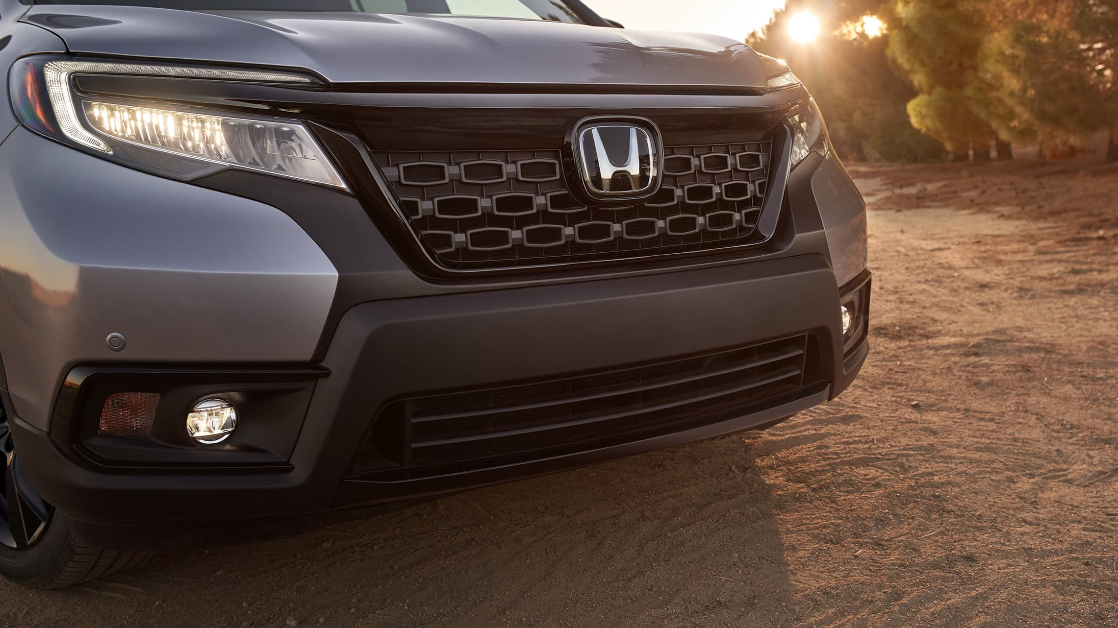Grille detail on the 2021 Honda Passport Elite in Lunar Silver Metallic.