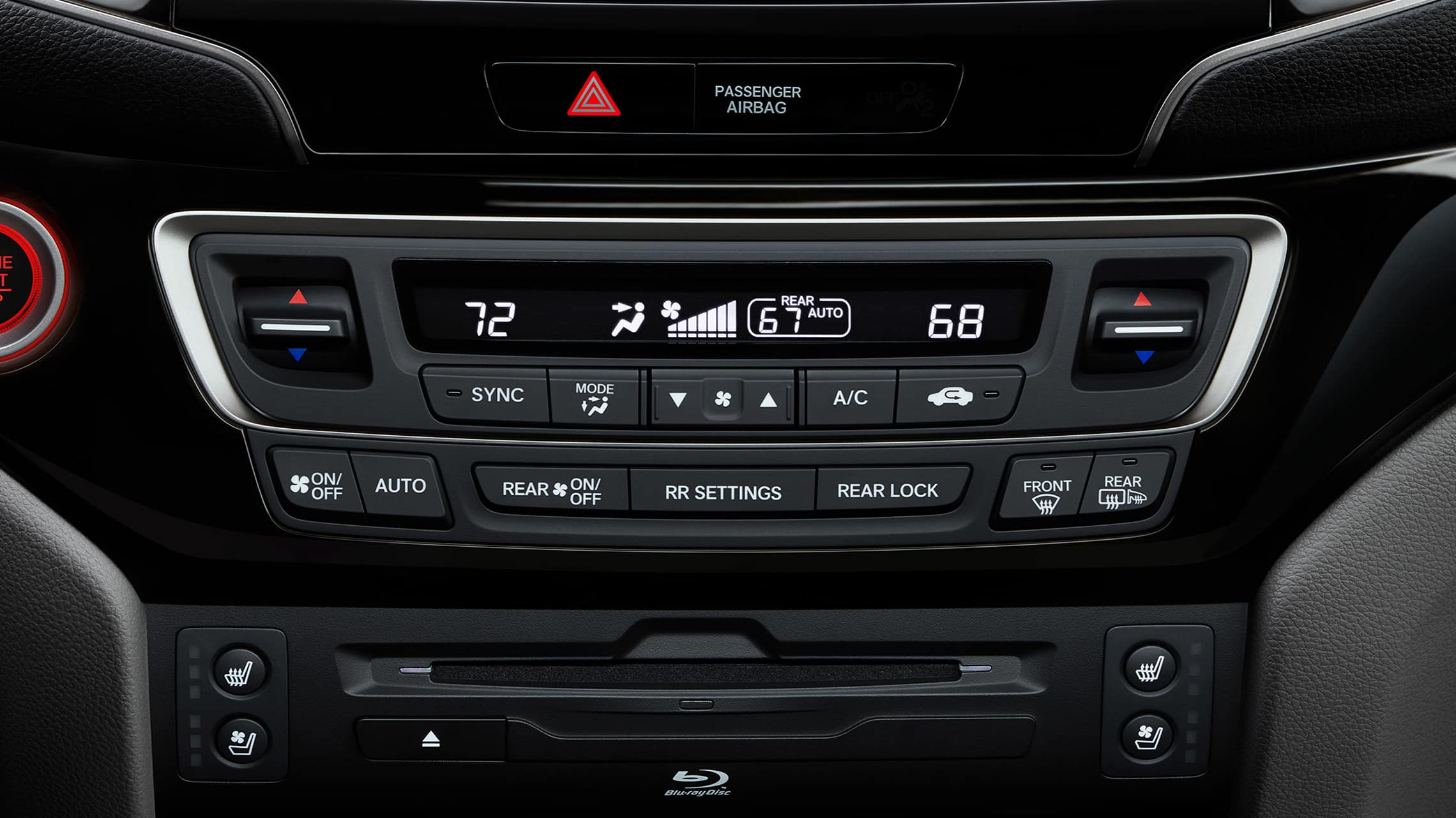 Climate control panel detail in 2021 Honda Pilot Elite.
