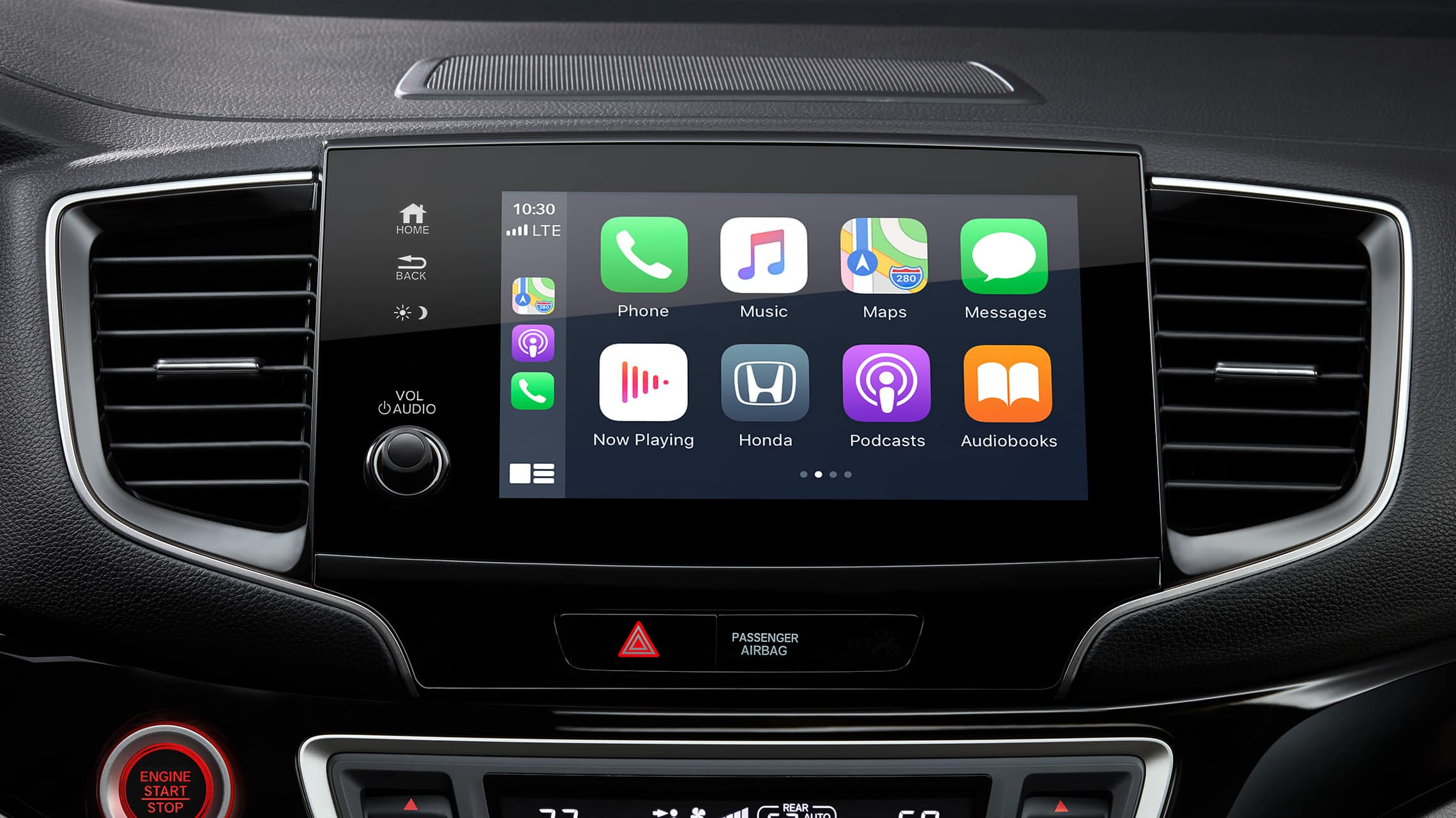 Apple CarPlay® home screen detail on Display Audio touch-screen in 2021 Honda Pilot Elite.